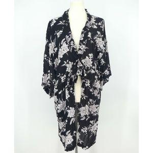Spiritual Gangster Maya Black Floral Kimono (AA15)